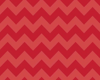 20 X 20 LAMINATED cotton fabric (similar to oilcloth)  - Red Tonal Chevron fabric - approved for children - Valentine Christmas fabric
