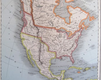 North America, 1800's Map, Vintage United States, Antique Map, Midcentury Map, North America Map, Ready to Frame Map