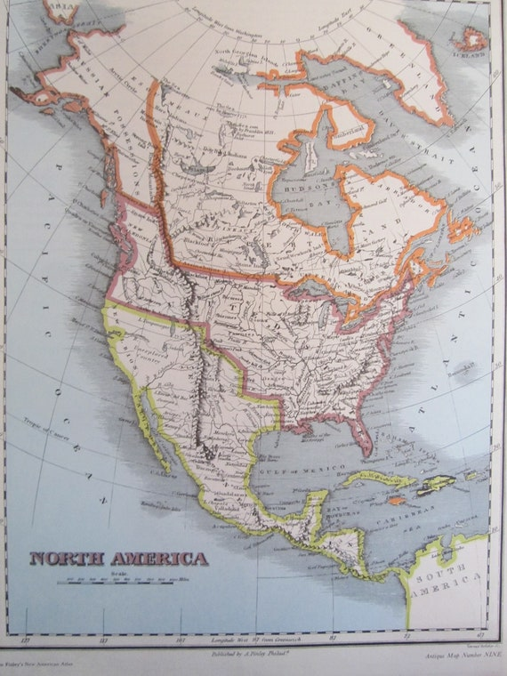 Items Similar To North America S Map Vintage United States - 1800s us map