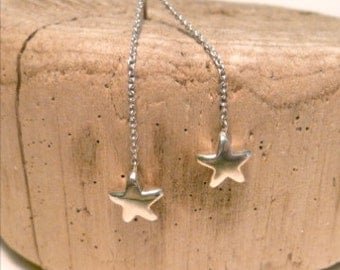 Swinging Stars- Handmade Sterling Silver Hanging Star Earrings on Chain On Posts Shooting Star