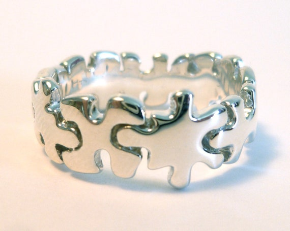 handmade silver puzzle ring sterling silver jigsaw puzzle