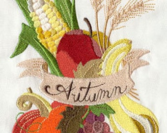Autumn Bounty Embroidered Flour Sack Hand/Dish Towel