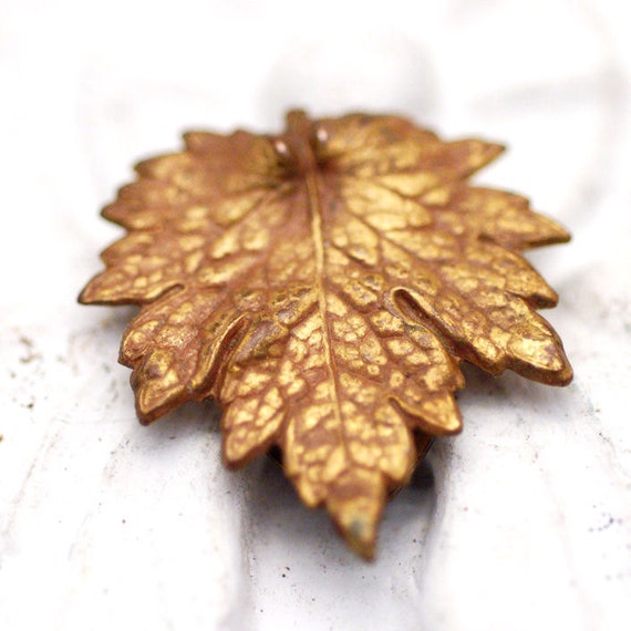 Vintage Brass Leaf Dress Clip