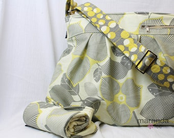 Deluxe Emma Large Diaper Bag Set - Optic Blossom Grey Yellow - Zipper Closure Cell Phone Pocket Stroller Strap