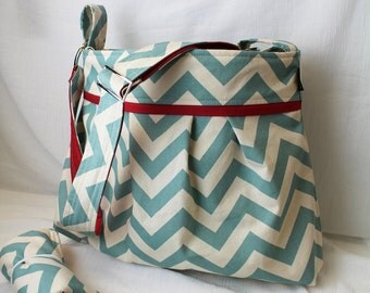 Stella Chevron Diaper Bag Set with Changing Pad   in Blue Chevron and Red -READY to SHIP - 6 Pockets Adjustable Strap Attach to Stroller