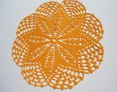 Crochet  Doily / Lace  Doilies / Orange / Round / 11 inches
