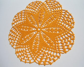 Crochet  Doily / Lace  Doilies / Orange / Round / 11 inches