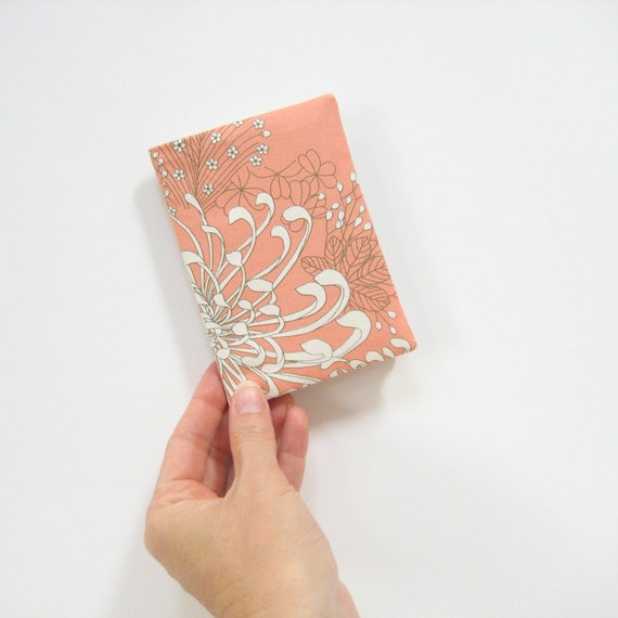 Cloth passport case, pretty boho bohemian peach white silver small birthday gift for ladies, Travel gifts for her, Under 20 dollars