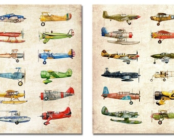 TWO 16x20 Vintage Airplane Collection, antiqued watercolor prints