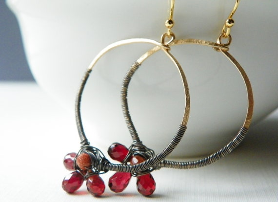 Garnet Earrings with 14k Gold and Oxidized Sterling Silver. Winter Jewelry in Oxblood. Gold Jewelry. Hoop Earrings.
