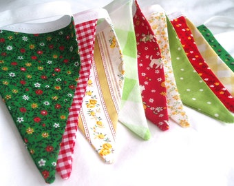 Vintage fabric Bunting Banner- Vintage Baby Garland-1930s fabric-Red, Yellow and Green