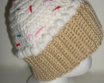 CROCHET VANILLA CUPCAKE Hat  Crochet 3 to 12 months