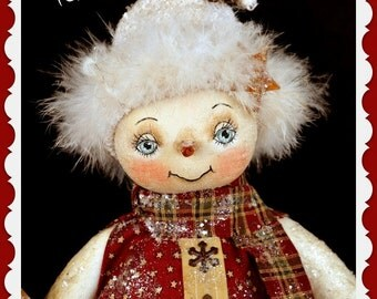 Primitive Snowman Pattern, Christmas, Holiday, Winter, Cloth doll pattern, Snowgirl, PDF Instant download pattern, Digital Download Pattern