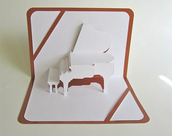 GRAND PIANO 3D Pop Up GREETING Card Home Decoration Origamic Architecture Handmade in White and Bright Shimmery Metallic Champagne Copper