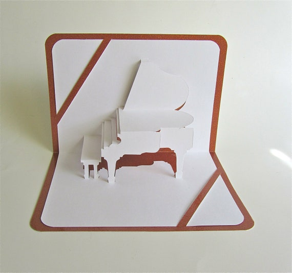 GREETING Card 3D Pop Up GRAND PIANO Home Decoration Origamic Architecture Handmade in White and Bright Shimmery Metallic Champagne Copper