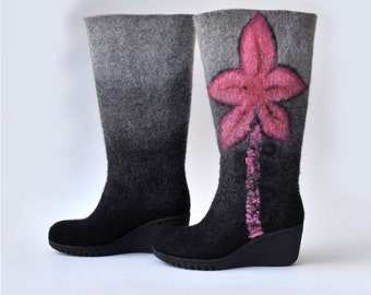 Felted boots from natural softest merino wool. Made to order.
