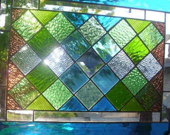 Stained Glass Window Quilt Blue and Green Diamonds Panel
