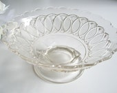 Antique Glass Footed Bowl or Low Standard Compote - Victorian EAPG Early American Pressed Glass Bowl - Star Diamond and Oval