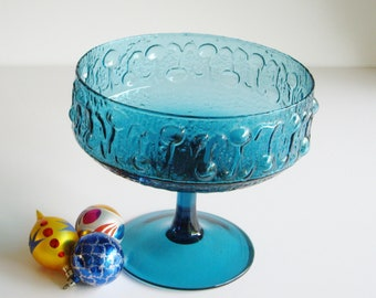 Vintage, Footed Bowl, Large Compote, Teal Blue, Turquoise, Glass Compote, Mid Century, Wayne Husted, Stelvia Italy, Pedestal bowl, MCM