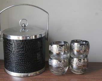 Reduced Madmen Chic Champagne Bucket. Faux Black Crocodile Chrome Bucket Silver Trim. Impeccable Inside. Smoky Glam Damask Roly Poly Glasses