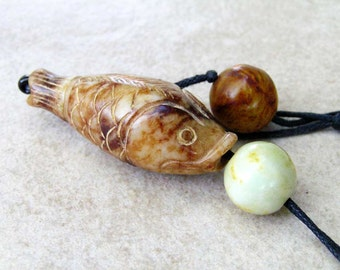 Ancient Jade Fish Lo Bead Pendant Necklace with Antique Jade Beads by NeoWare