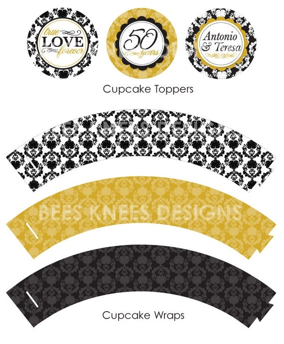 Items Similar To Printable 50th Wedding Anniversary Printable Party Pack Banner Cupcake Toppers