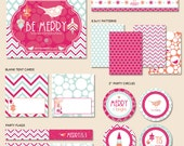 """Instant Download - Be Merry Holiday Party - """"The Essentials"""" PRINTABLE Collection (Pink Blue & Orange)"""