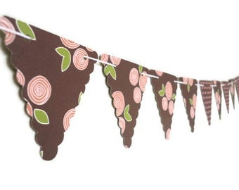 Girlie Bunting Banner, Double Sided Paper, Small Triangle Garland, Polka Dotted Party, Flower Photo Prop, Pink and Brown