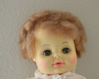 1971 Horsman Doll 15 Inch Doll Wet and Sleep Molded Body Sleepy Moveable GREEN Eyes  from The Back part of the Basement