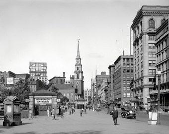 1923 Photo, BOSTON City View, Massachusetts, Tremont Street Scene