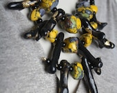 Black Coral Tribal Necklace / Yellow and Gray Stone Statement Piece