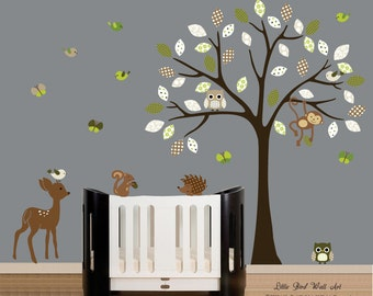Forest tree decal, forest friends decal, decal tree nursery, nursery tree decal, boy or girl decal, decal forest set, vinyl wall decal