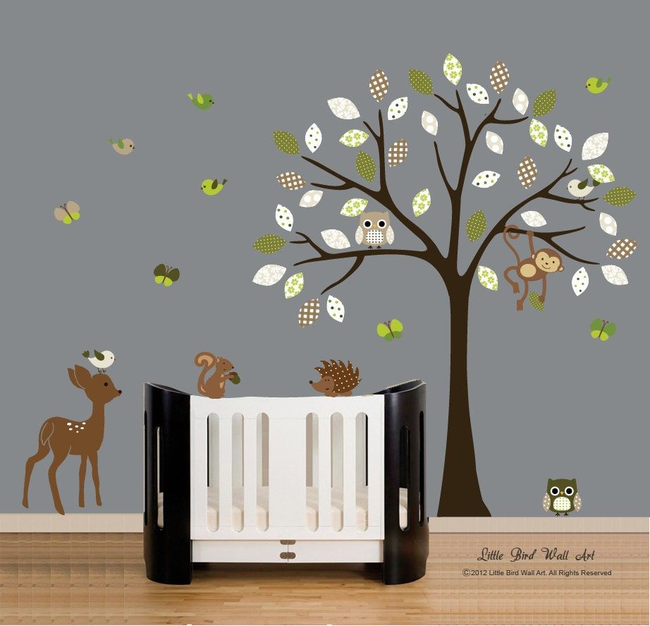 wall decals vinyl wall decal tree owl forest animals nursery. Black Bedroom Furniture Sets. Home Design Ideas