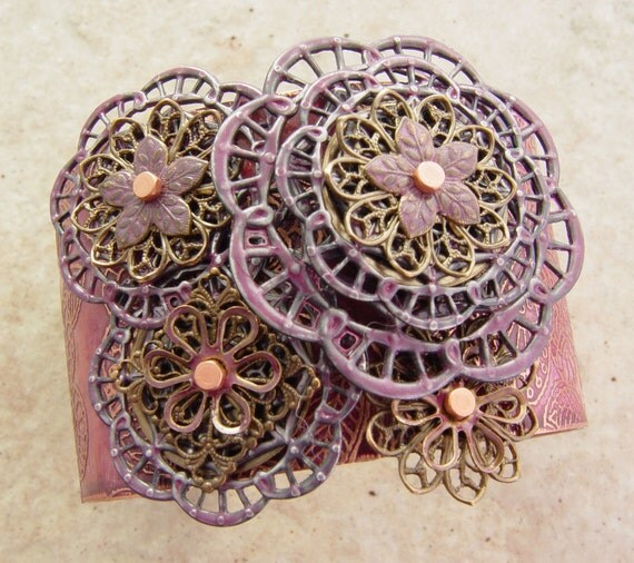 """Embellished and Etched Copper Cuff Bracelet, Rose and Brass Filigree, 1.5"""""""