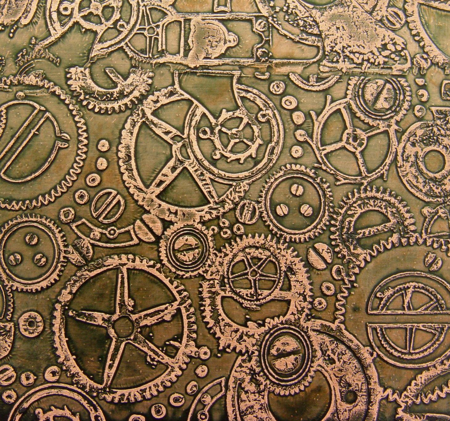 Etched Copper Sheet Steampunk Olive Green Patina 4x3 Inches