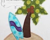 Summer Palm Tree Island Embroidery Design Machine Applique