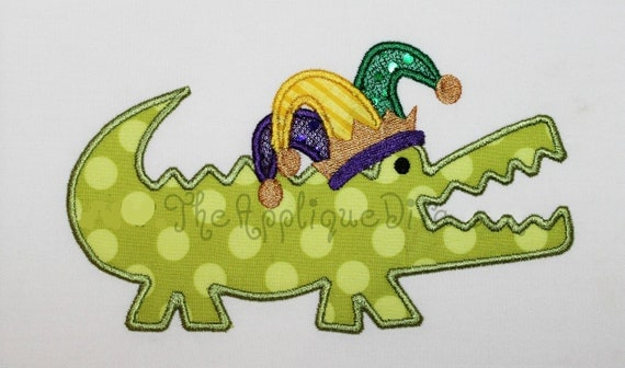 Mardi Gras  Gator Embroidery Design Machine Applique