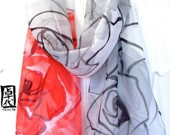 Hand Painted Silk Scarf. Gray Red Roses Floral Scarf. Silk Chiffon Scarf. Japanese Scarf. Silk Scarves Takuyo. 10x54 in. Made to order.