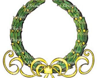 Olive Branch Leaf Wreath Topiary Formal Garden Boxwood Decorative - Digital Image - Vintage Art Illustration - Instant Download