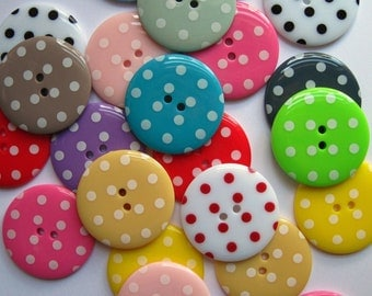 35mm large spotty buttons x20, assorted spotty buttons, mixed buttons, large coat buttons, button stash,