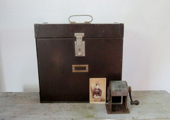 Vintage Industrial Home Office Metal File Box
