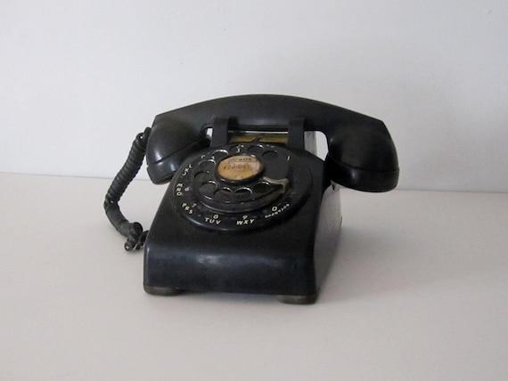 Vintage Black Rotary Bell Telephone - Prop or Display