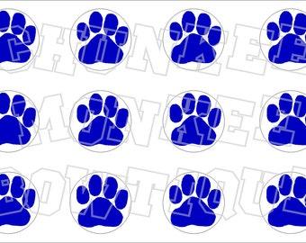 Royal blue paw print with white background bottlecap image sheet pawprint