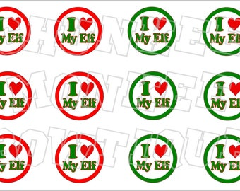 I Love My Elf with red and green border bottlecap image sheet