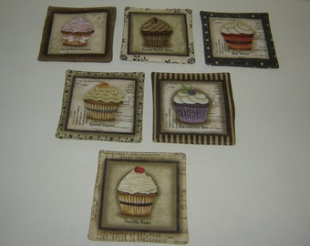 "Cupcake Coasters, handmade, fabric coasters, set of 4, kitchen coasters, hostess gift, cupcake mug rugs, you choose your ""flavor"", under 10"