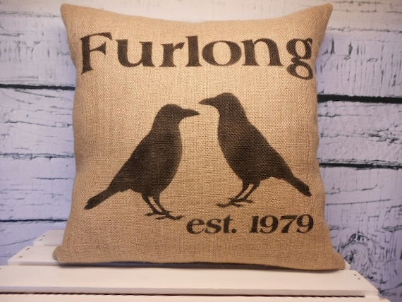 Burlap black crow pillow cover - family name - established date - personalized - primitive crows/ravens -  pillow insert sold separately