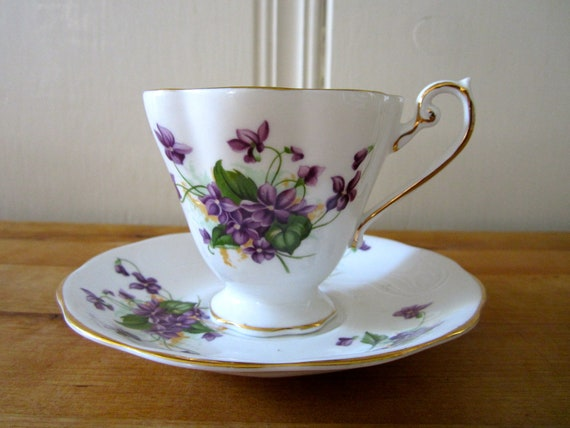 A Royal Standard Bone China Violets Teacup and Saucer