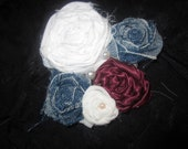 Denim, White and Maroon Rosette Clip with Pearls