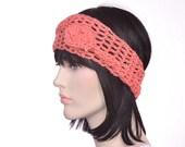 Coral Hair Scarf Crochet Headband Scarf  Rosebud Knot Wrap Turban Lightweight Women Shabby Chic Boho Headband