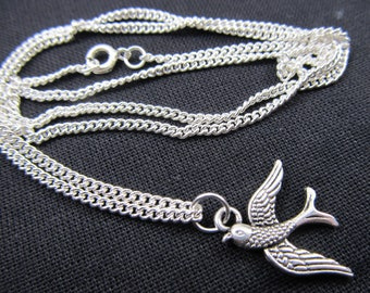 Swallow Necklace Swallows Bird Necklace Miniblings silver Birds